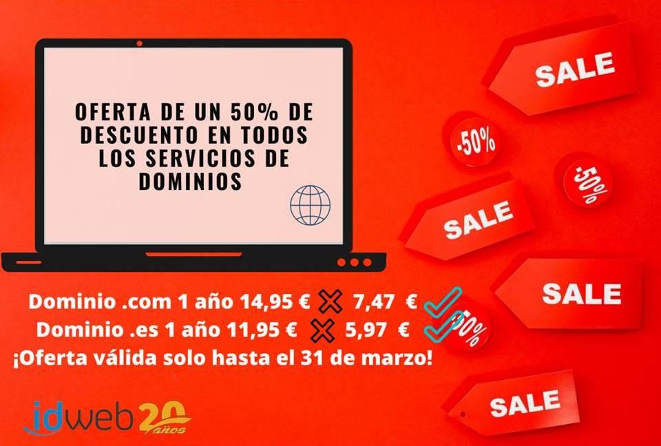 ¡Este mes los dominios .es y .com a MITAD de precio!