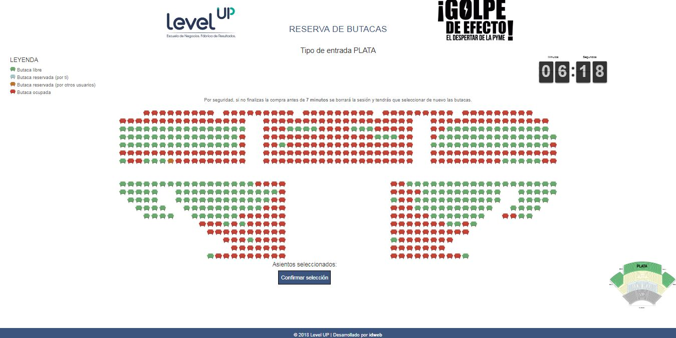 Golpe de Efecto 2018. Web de reservas de entradas en tiempo real. Level UP