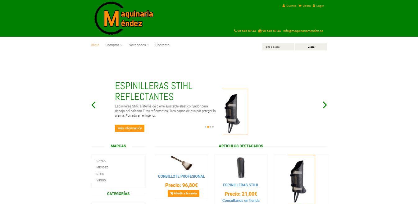 Maquinaria Mendez. Web tienda virtual