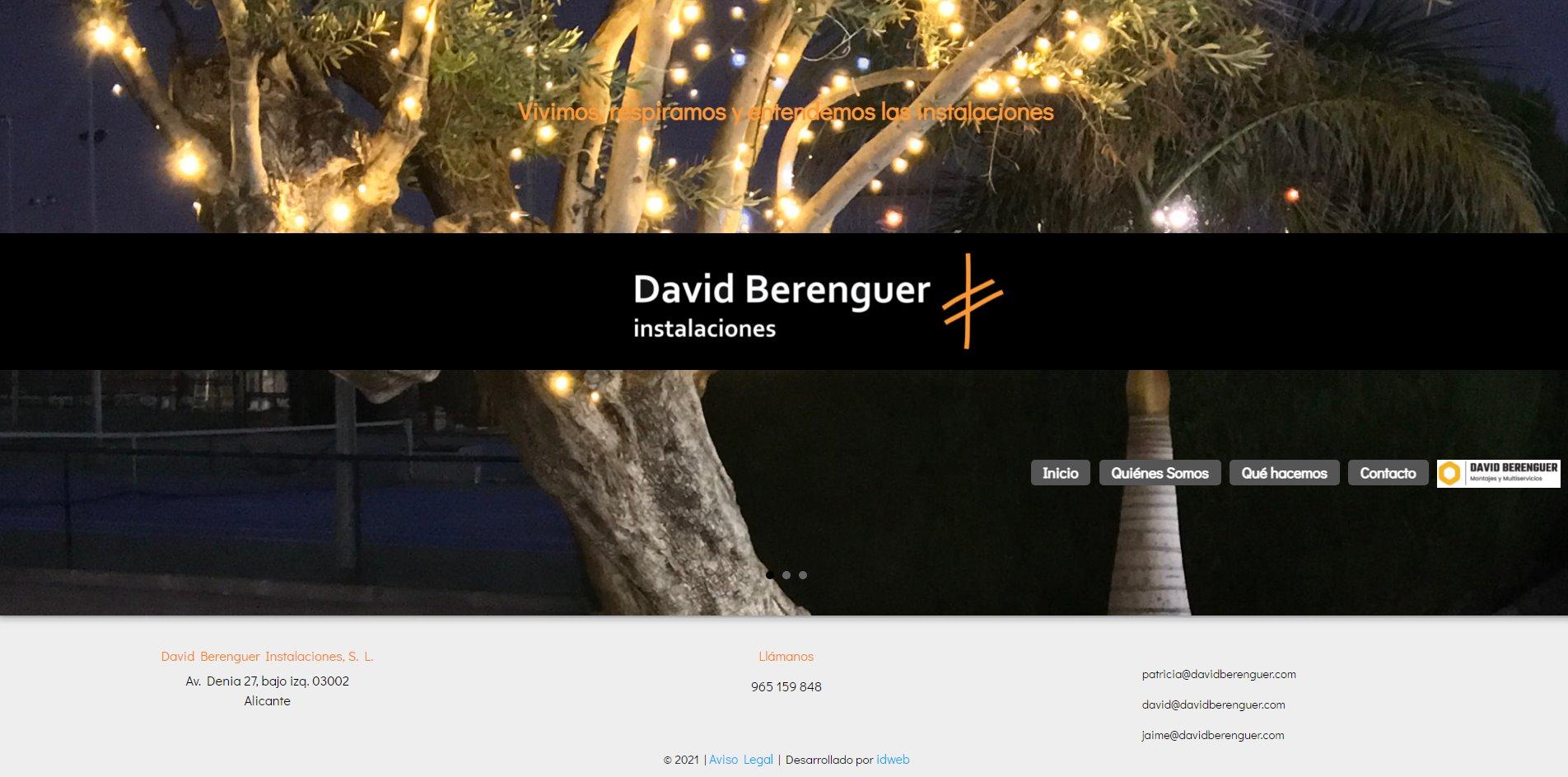 Nueva web para David Berenguer Instalaciones
