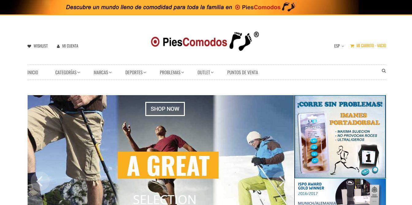 PiesComodos - Web tienda virtual de productos para el cuidado de los pies