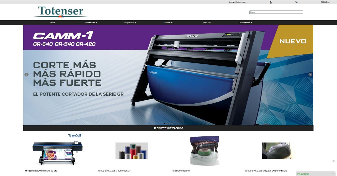 TOTENSER. Web tienda virtual