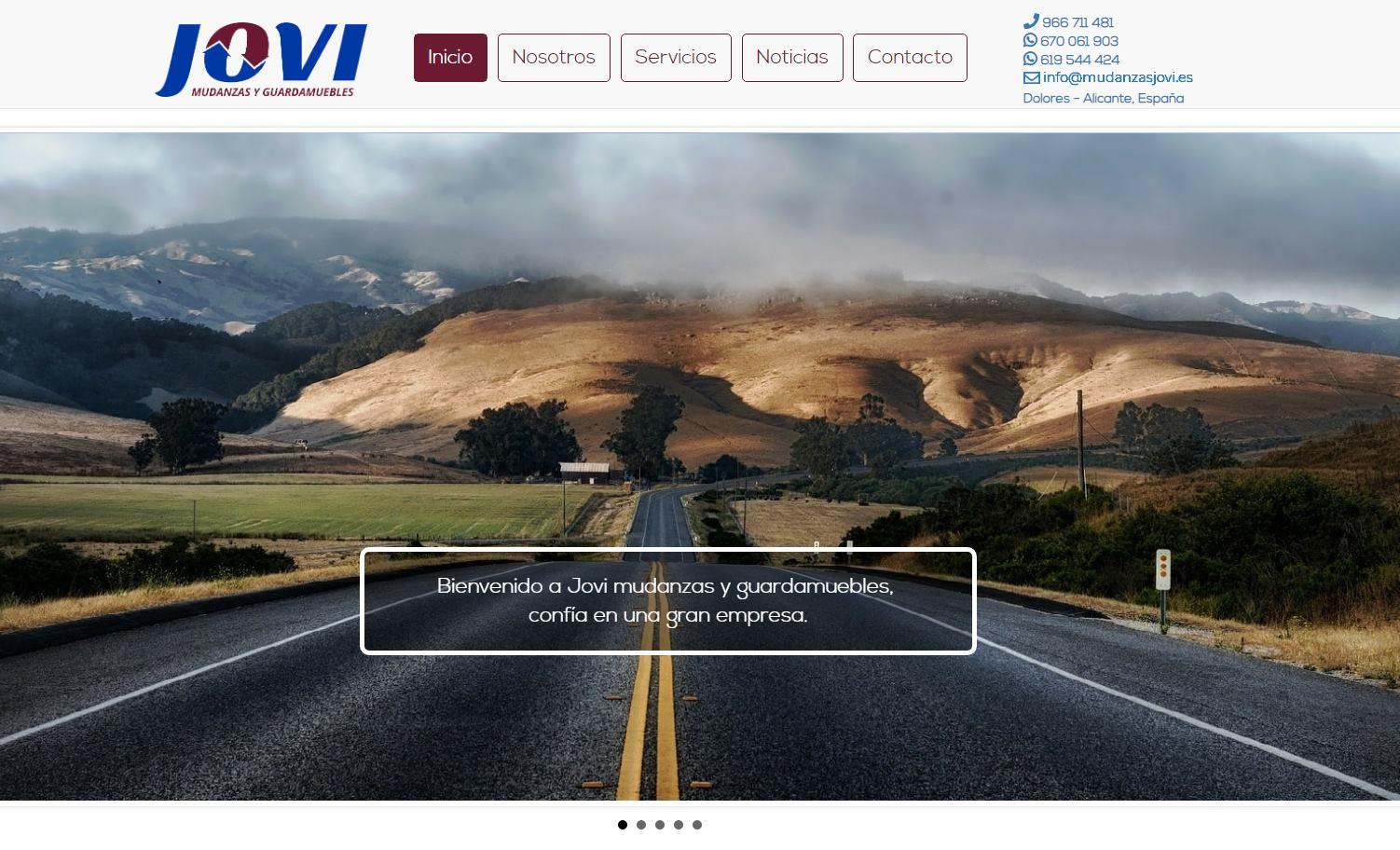 Web secciones para Mudanzas JOVI